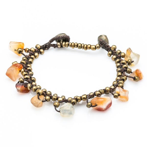Brass Bead with Stone Waxed Cotton Bracelets in Orange