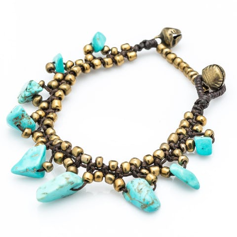 Brass Bead with Stone Waxed Cotton Bracelets in Turquoise