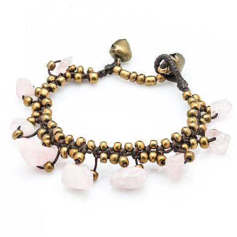 Brass Bead with Stone Waxed Cotton Bracelets in Pink