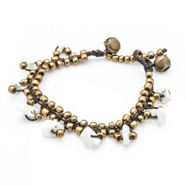 Brass Bead with Stone Waxed Cotton Bracelets in White