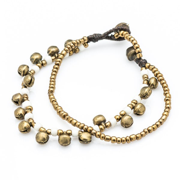 Brass Bell And White Bead Double Strand Bracelets