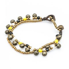 Silver Color Bell Waxed Cotton Bracelets in Gold