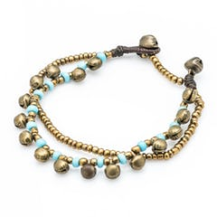 Brass Bell And Green Bead Double Strand Bracelets