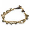 Brass Bell And Bead Double Strand Bracelets