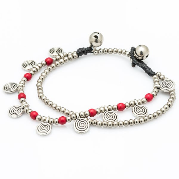 Red Bead And Charm Double Strand Bracelets