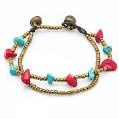 Brass Bead And Red Stone Double Strand Bracelets