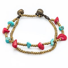 Red/Gold Bead Leather Wrapped Bracelets