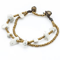 Brass Bell And Black Bead Double Strand Bracelets