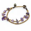 Brass Beads Bracelet with Amethyst Stones