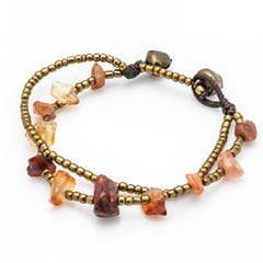 Brass Bead And Violet Stone Double Strand Bracelets