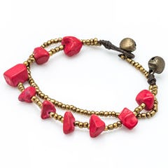 Brass Bead And Red/Turquoise Stone Double Strand Bracelets