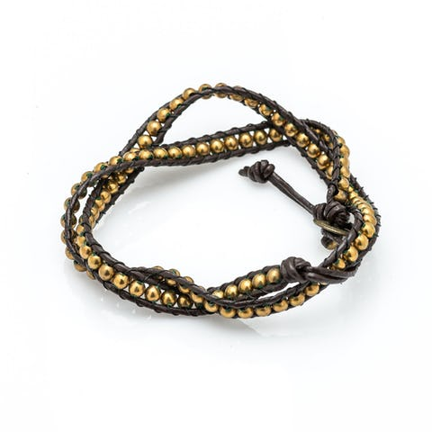 Gold Bead Leather Wrapped Bracelets