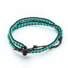 Turquoise Bead Leather Wrapped Bracelets