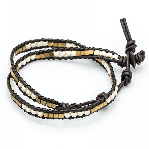 White Bead Leather Wrapped Bracelets