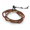 Wood Bead Leather Wrapped Bracelets