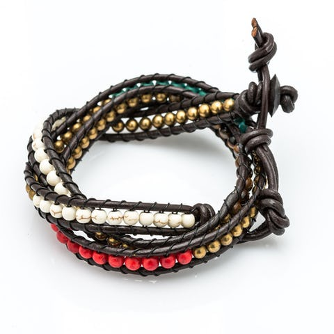 Multi Bead Leather Wrapped Bracelets