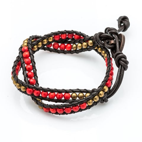 Leather Wrap Bracelet with Red and Gold Beads