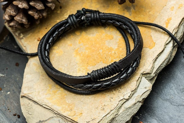 Fair Trade Hand Made Woven Leather Bracelet Four Strand Single Knot in Black