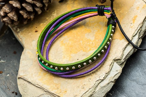 Multi Strand Leather Bracelet in Green