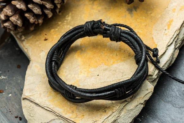 Fair Trade Hand Made Woven Leather Bracelet Modern Knot in Brown