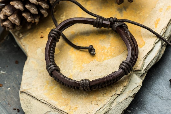 Fair Trade Hand Made Woven Leather Bracelet Warrior Knot in Brown