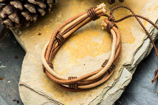 Fair Trade Hand Made Woven Leather Bracelet 5 Strand Natural Brown