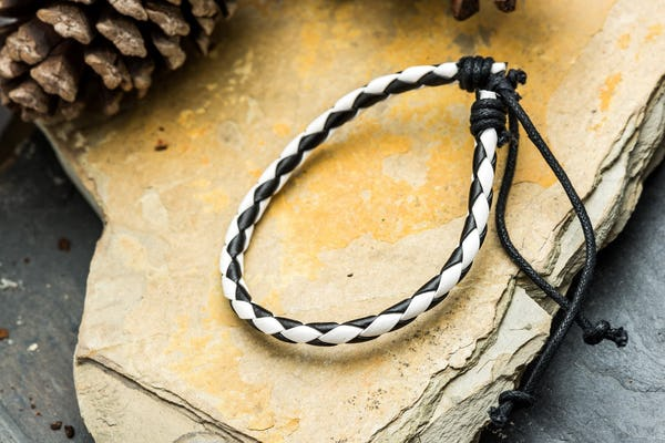 Fair Trade Hand Made Woven Leather Bracelet Black And White Braid