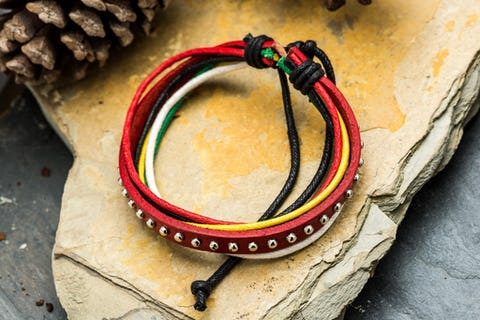 Adjustable Hand Made Multi Strand Waxed Cotton Leather Bracelet Red