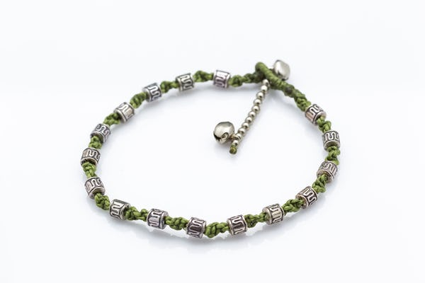 Hand Made Fair Trade Anklet Waxed Cotton Silver Beads Olive