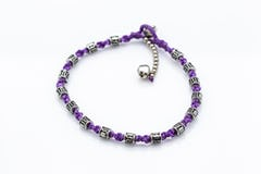 Hand Made Fair Trade Anklet Double Strand Silver Beads Red
