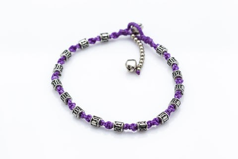 Hand Made Fair Trade Anklet Waxed Cotton Silver Beads Violet
