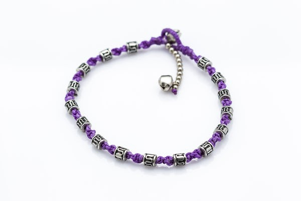 Hand Made Fair Trade Anklet Waxed Cotton Silver Beads Purple