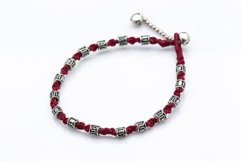 Hand Made Fair Trade Anklet Waxed Cotton Silver Beads Maroon