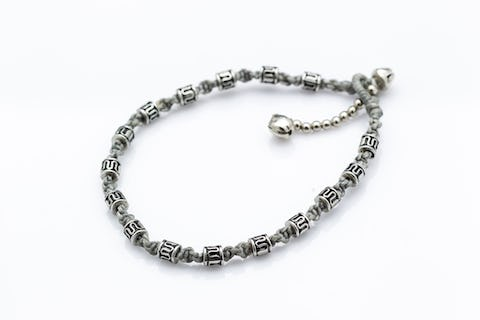 Hand Made Fair Trade Anklet Waxed Cotton Silver Beads Gray