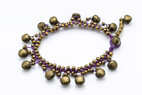 Hand Made Brass Bell Waxed Anklets in Violet