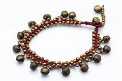 Hand Made Fair Trade Anklet Three Strand Beads Brass