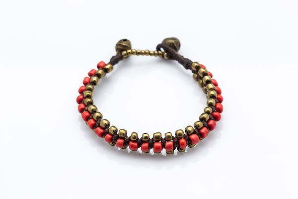 Hand Made Woven Brass Beaded Bracelets in Red