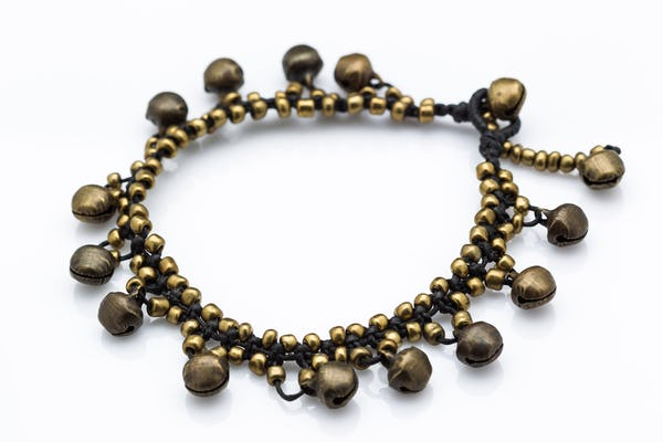 Hand Made Brass Bell Waxed Anklets in Black