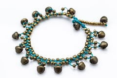 Hand Made Fair Trade Anklet Double Strand Silver Blue Beads Elephant