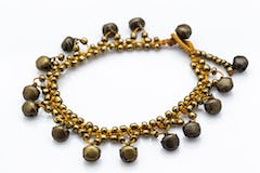 Hand Made Fair Trade Anklet Three Strand Brass White