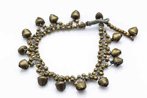 Hand Made Brass Bell Waxed Anklets in Gray