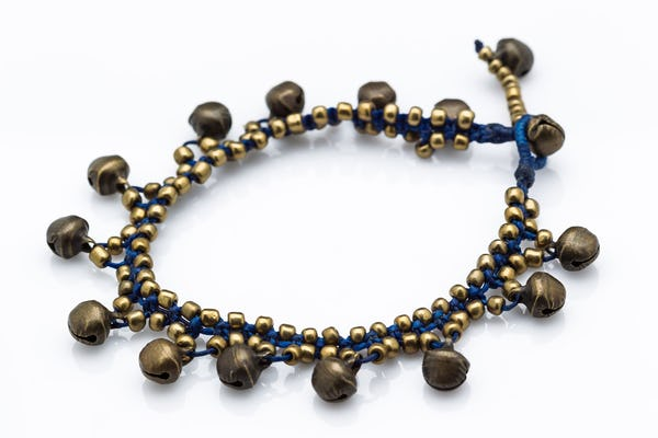 Hand Made Brass Bell Waxed Anklets in Blue