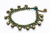 Hand Made Brass Bell Waxed Anklets in Green