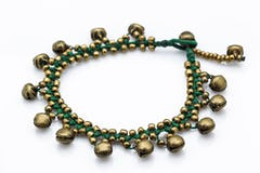 Hand Made Fair Trade Anklet Three Strand Brass Turquoise