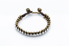 Triple Brass Beads Bracelet with Multi Color Beads