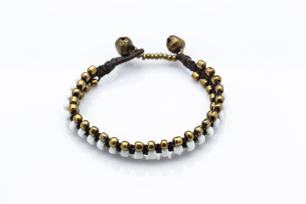 Hand Made Woven Brass Beaded Bracelets in White