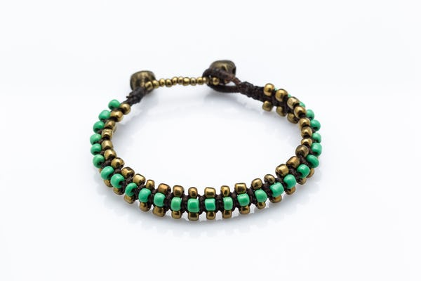Hand Made Woven Brass Beaded Bracelets in Green