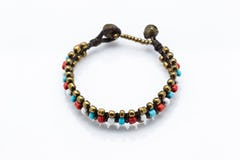 Triple Brass Beads Bracelet with Blue Beads