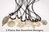 Assorted 3 Piece Set Hand Made Brass Necklace