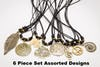 Assorted 6 Piece Set Hand Made Brass Necklace